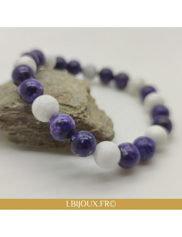 """Bracelet perles Lapis lazuli et Pierre de lave """"Concentration et décontraction"""" femme homme"""