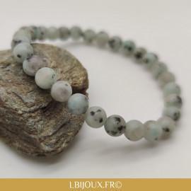 """Bracelet perles jaspe gris """"Bien-être"""" femme homme"""
