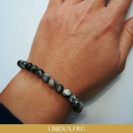 "Bracelet perles Jaspe Picasso ""Antistress"" femme homme"