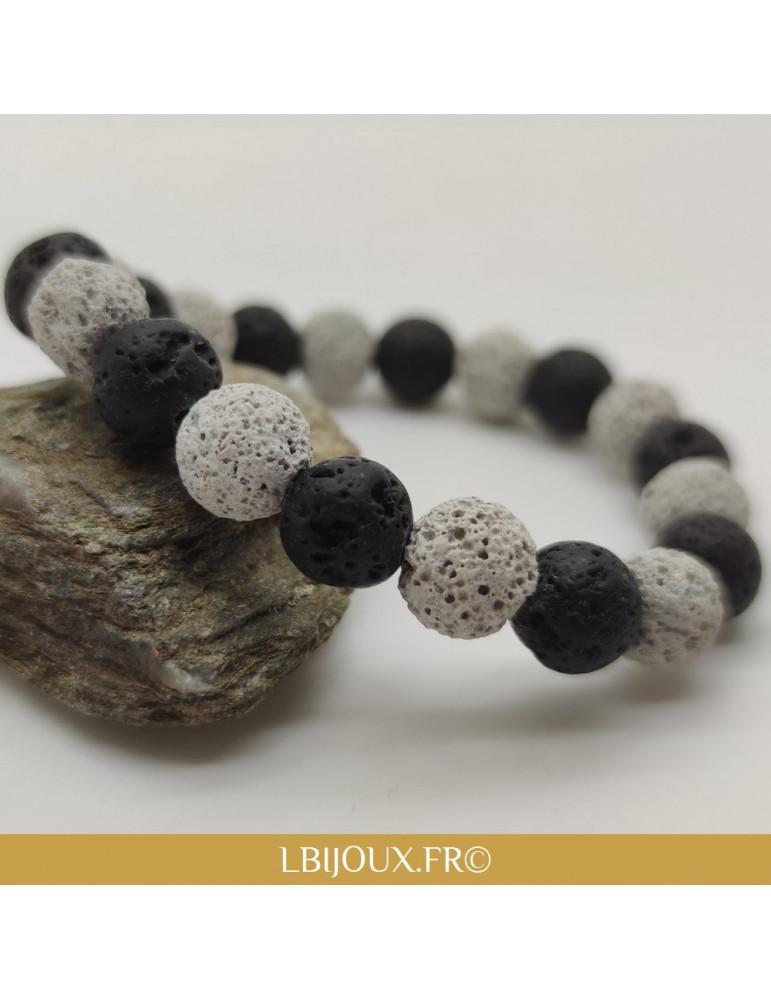 """Bracelet perles Pierres de Lave noires et blanche """"Courage"""" femme homme"""