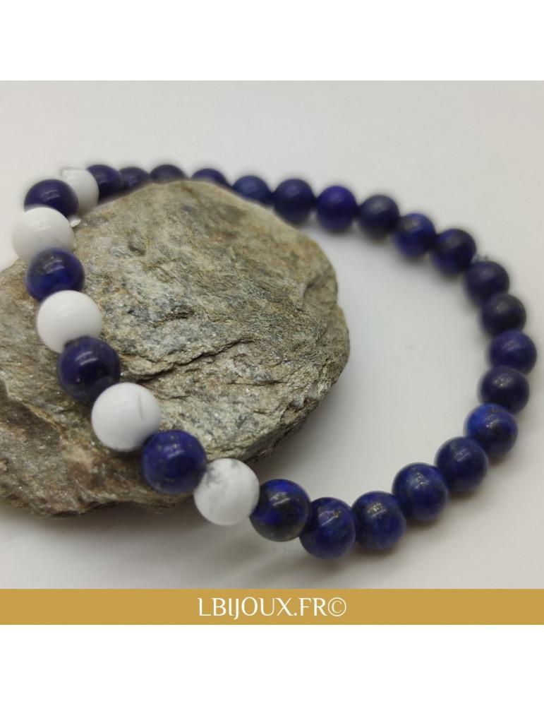 "Bracelet perles howlite et lapis lazuli ""Antistress"" femme homme"