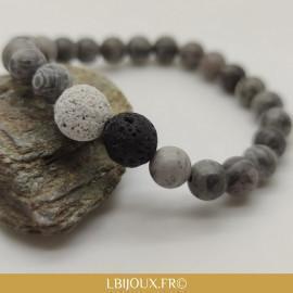 """Bracelet perles Pierre de lave et jaspe gris """"Tonifiant et Courage"""" femme homme"""