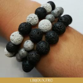 Bracelet perles pierres de lave noires et blanches femmes