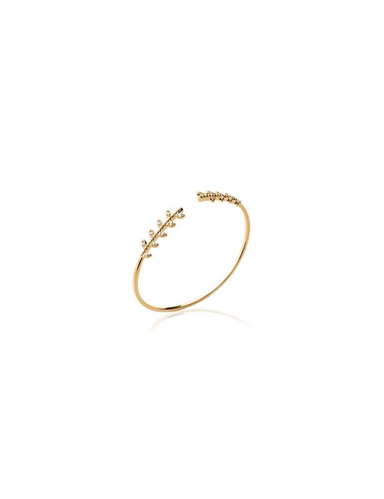 Bracelet jonc plaqué or laurier et oxydes femme LBIJOUX - 1