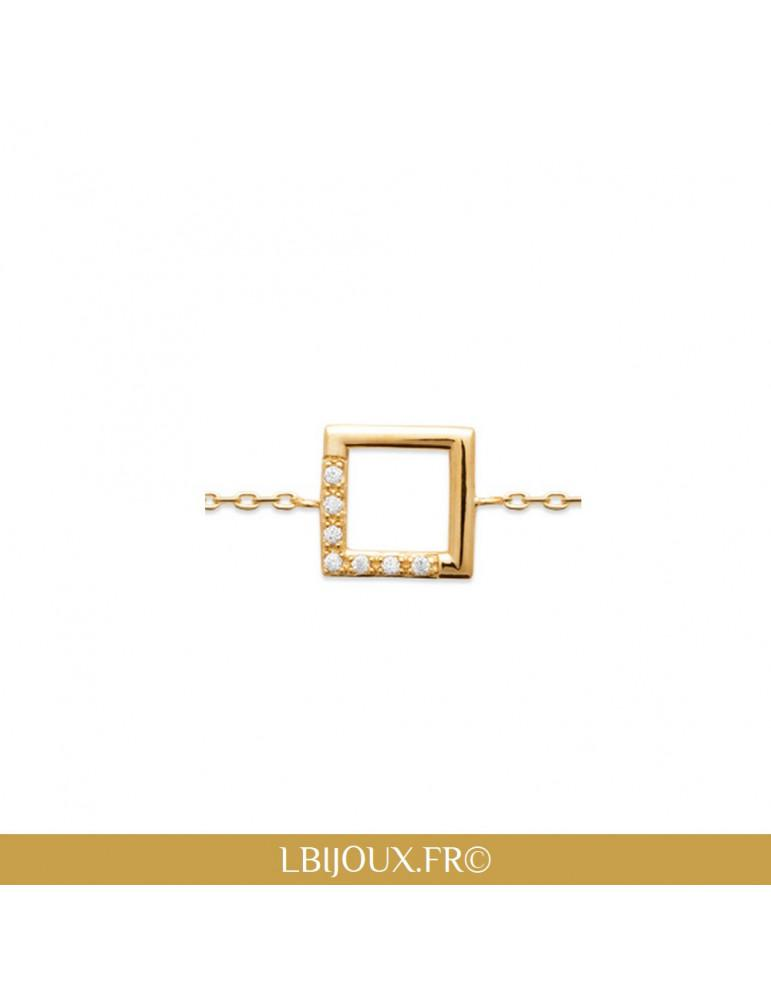 Bracelet plaqué or femme carré empierré