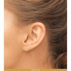Boucles d'oreilles femme plaqué or carré empierré
