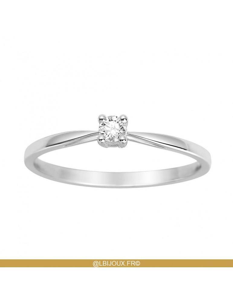 Solitaire or 750 18 carats jaune ou blanc et diamant 0.08 carat HSI 4 griffes