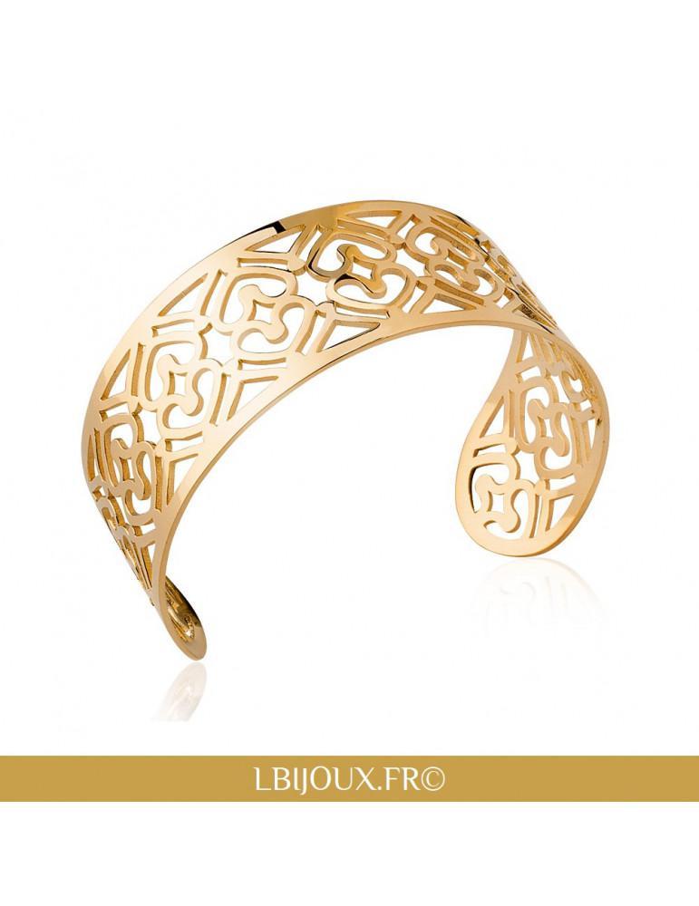 Bracelet large plaqué or manchette coeurs femme