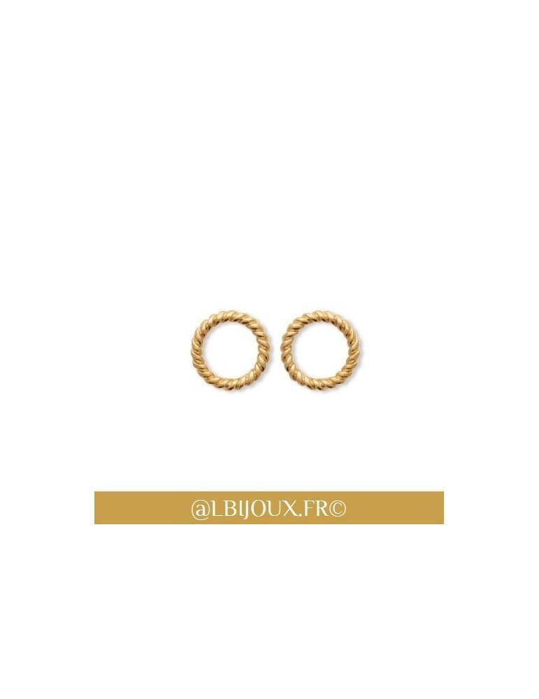 Boucles d'oreilles plaqué or cercles torsadés femme