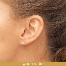 Boucles d'oreilles plaqué or coeur femme fille