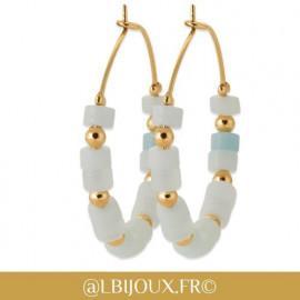 Boucles d'oreilles créoles plaqué or pierres différentes couleurs