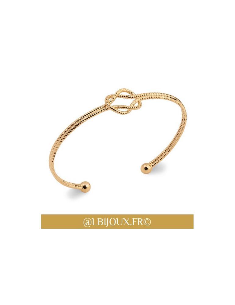 Bracelet jonc plaqué or noeud perlé femme 58 mm