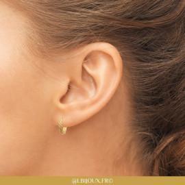 Boucles d'oreilles créoles plaqué or torsadées femme
