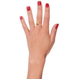 Bague plaqué or perlée et pierres roses facettées femme