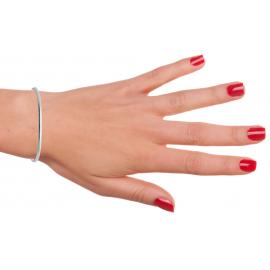 Bracelet jonc ouvert argent 925 perlé femme