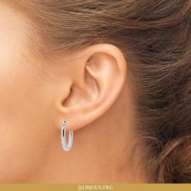 Boucles d'oreilles créoles argent 925 rhodié perlées femme
