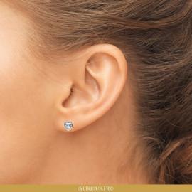 Boucles d'oreilles argent 925 rhodié coeur oxyde enfant femme