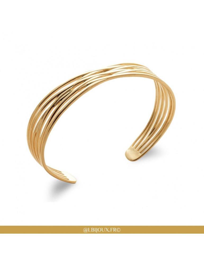 Bracelet jonc ouvert en plaqué or fils croisés femme