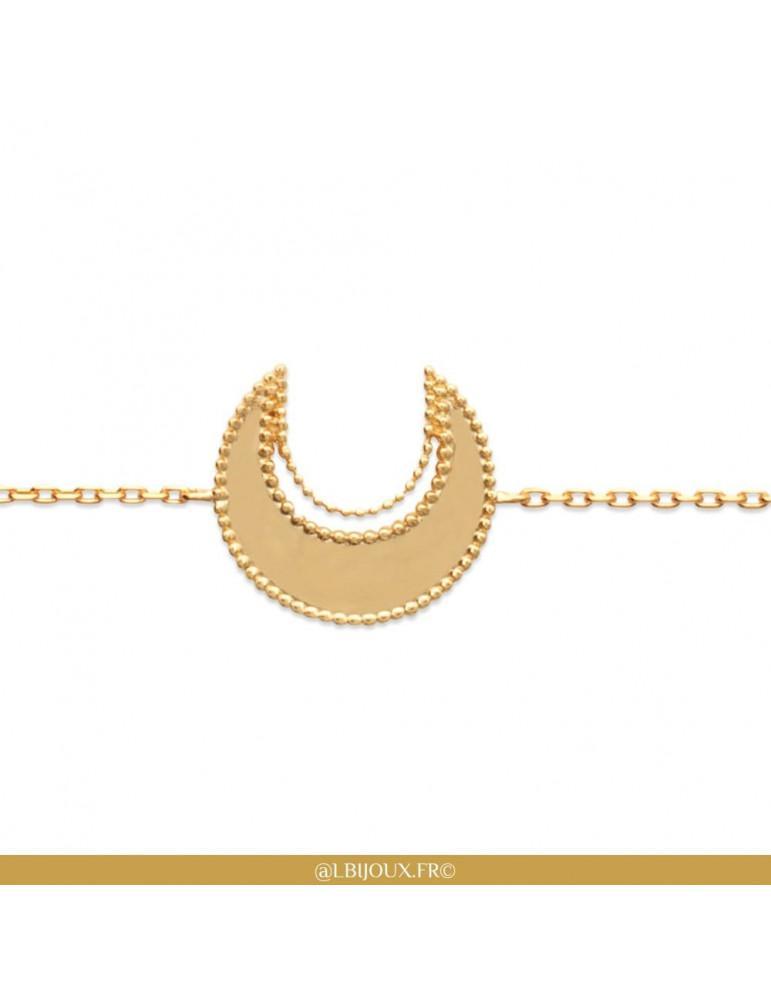 Bracelet plaqué or lune femme