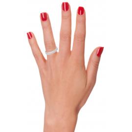 Alliance or 750 blanc boules et diamants 0.33 carat