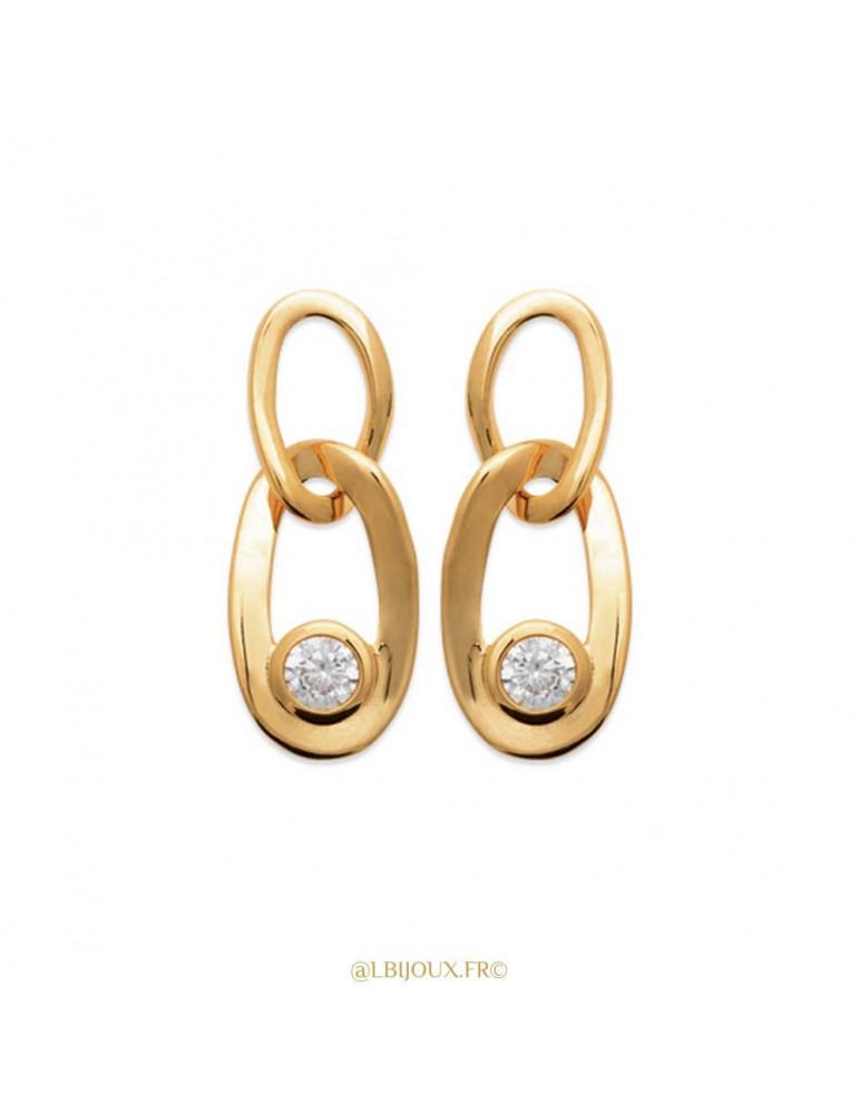 Boucles d'oreilles pendantes plaqué or maillons et oxydes