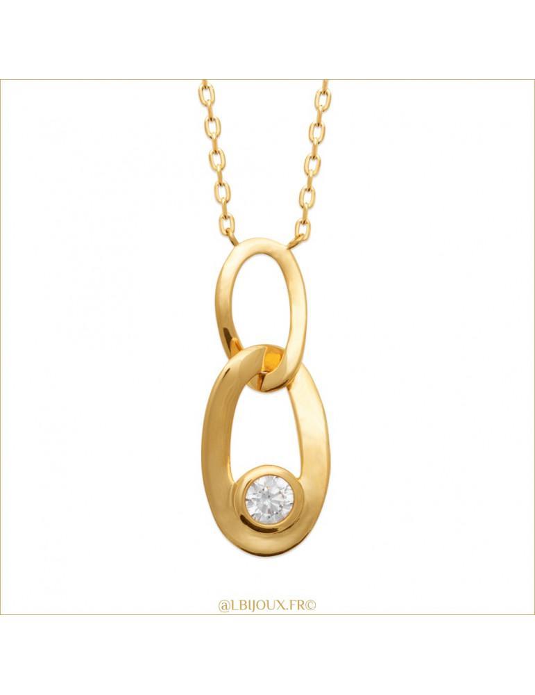 Collier plaqué or maillons et oxydes femme 45 cm