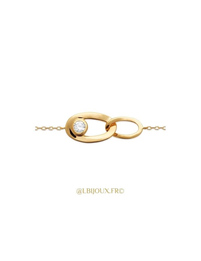 Bracelet plaqué or gros maillons oxyde femme 18 cm