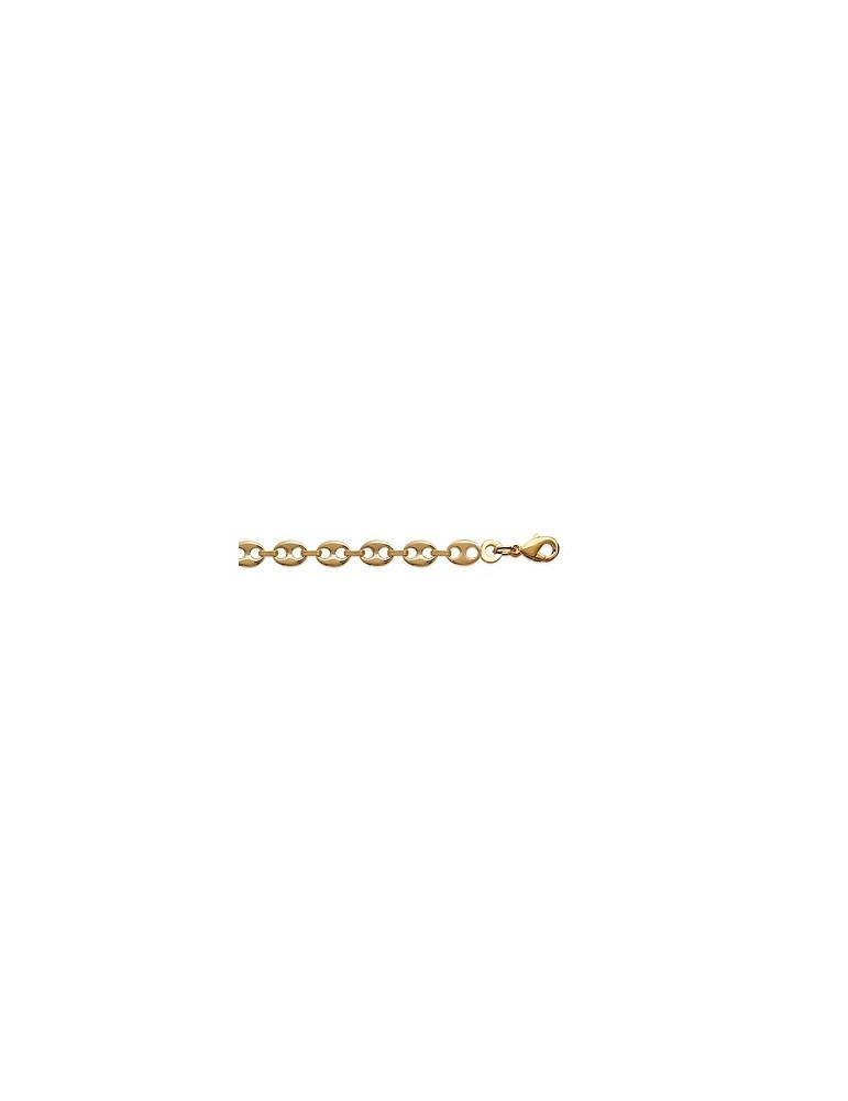 Bracelet plaqué or homme femme maille grain de café 5 mm