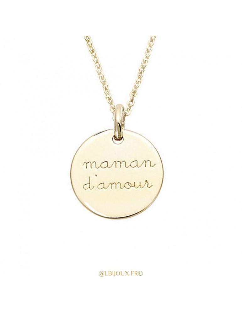 Pendentif rond plaqué or Maman d'amour