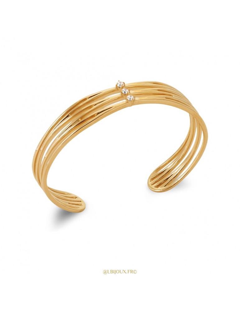 Bracelet jonc ouvert manchette plaqué or et oxydes femme 58 mm