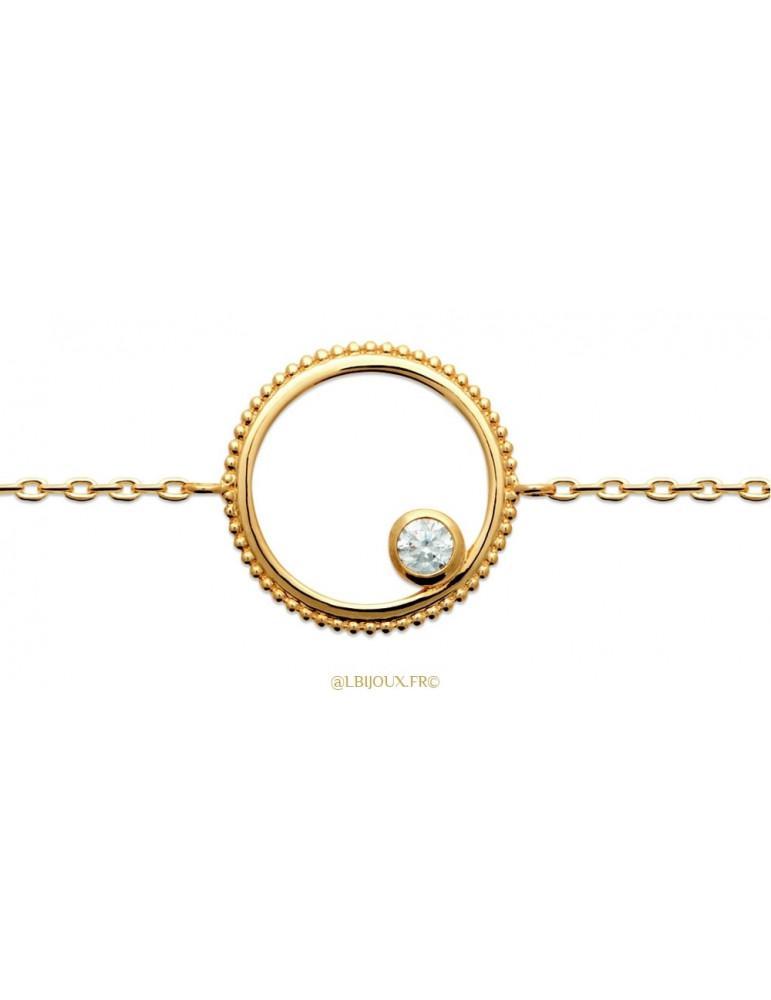 Bracelet plaqué or cercle perlé et oxydes femme 18 cm
