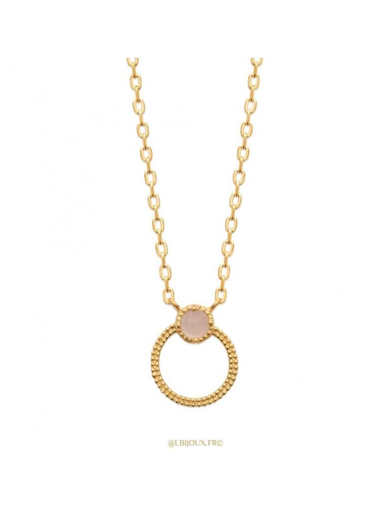 Collier plaqué or cercle perlé et quartz rose 45 cm