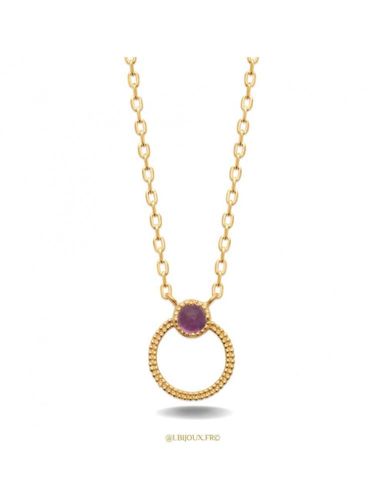 Collier plaqué or cercle perlé et améthyste 45 cm