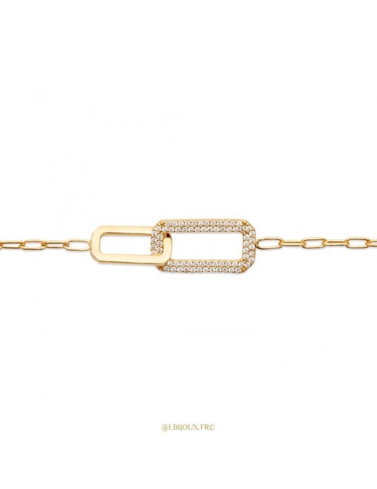 Bracelet plaqué or 1 maillon brillant 1 maillon empierré femme 18 cm