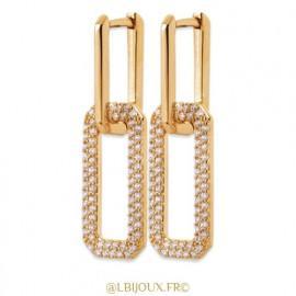 Boucles d'oreilles pendantes plaqué or 1 maillon brillant 1 maillon empierrées femme