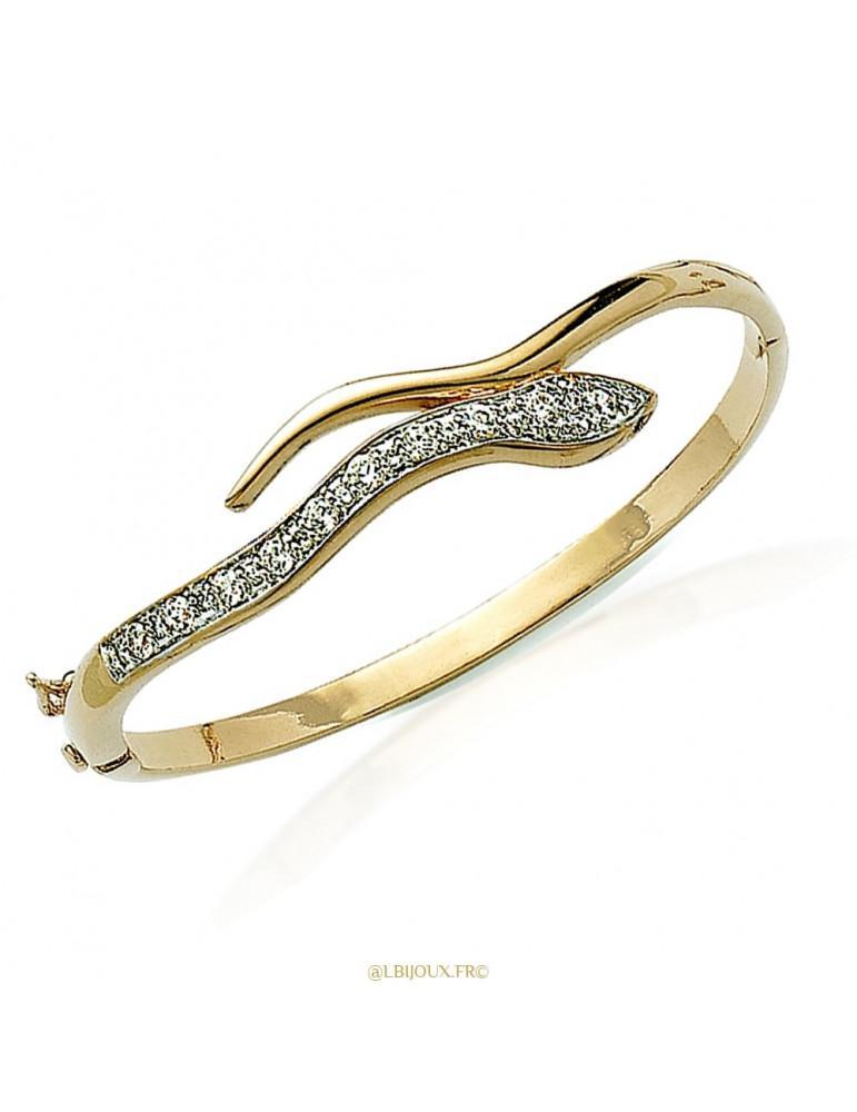 Bracelet plaqué or ouvrant serpent empierré 62 mm