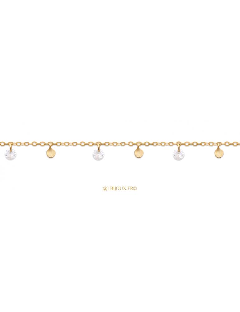 Bracelet plaqué or pampilles femme 18 cm