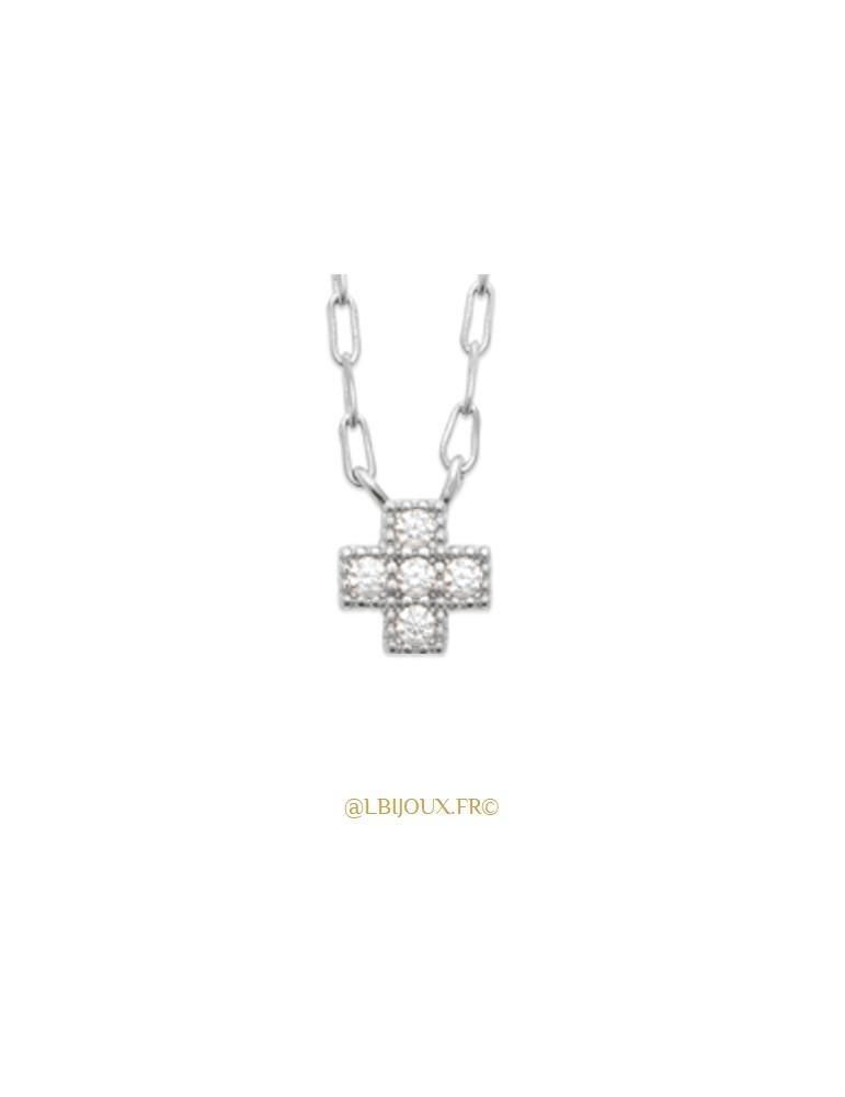 Collier argent 925 rhodié croix oxydes femme 45 cm