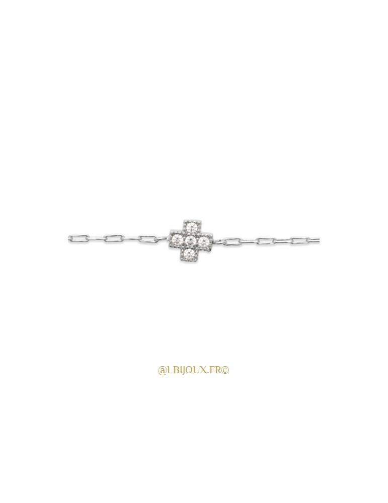 Bracelet argent 925 rhodié croix perlé femme 18 cm