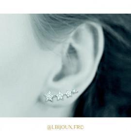 Contours d'oreilles argent 925 rhodié étoiles et oxydes femme