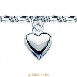 Chaine de cheville argent 925 rhodié coeur femme 25 cm
