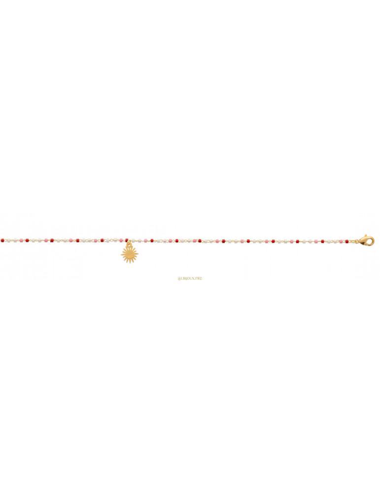 Chaine de cheville plaqué or Miyuki et soleil femme 25 cm