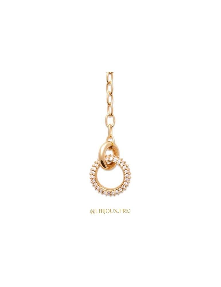 Collier cravate plaqué or anneau empierré 45 cm
