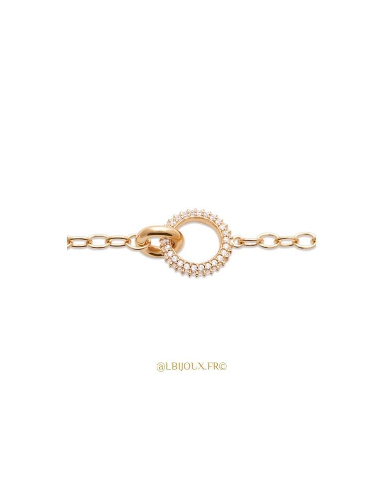 Bracelet plaqué or anneau empierré 18 cm
