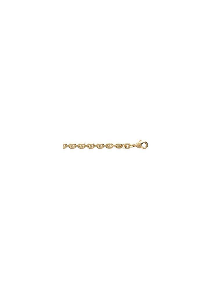 Bracelet plaqué or homme femme maille grain de café 3.7 mm
