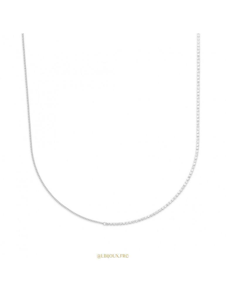 Collier argent mixte chaine + pierres femme 45 cm