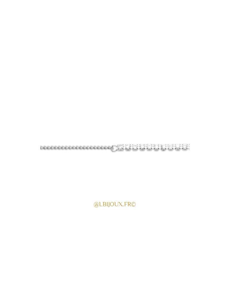 Bracelet argent mixte chaine + pierres femme 18 cm