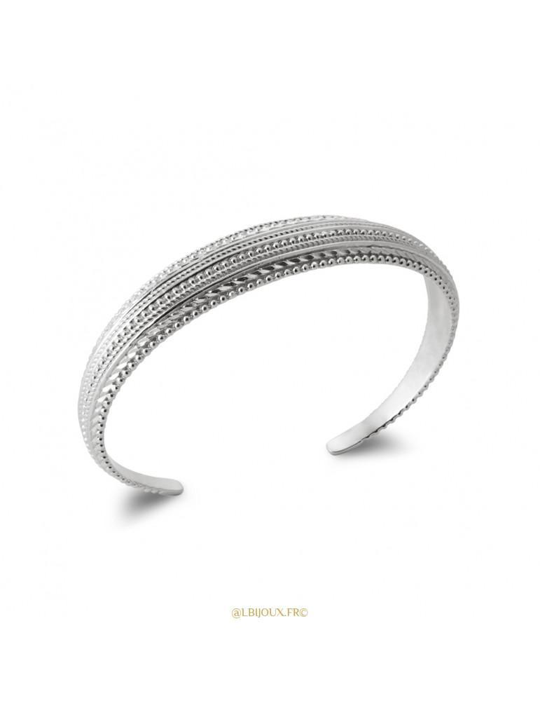 Bracelet jonc argent ouvert perlé femme