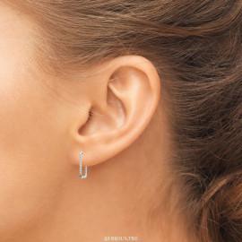 Boucles d'oreilles argent rhodié gros maillons travaillés femme