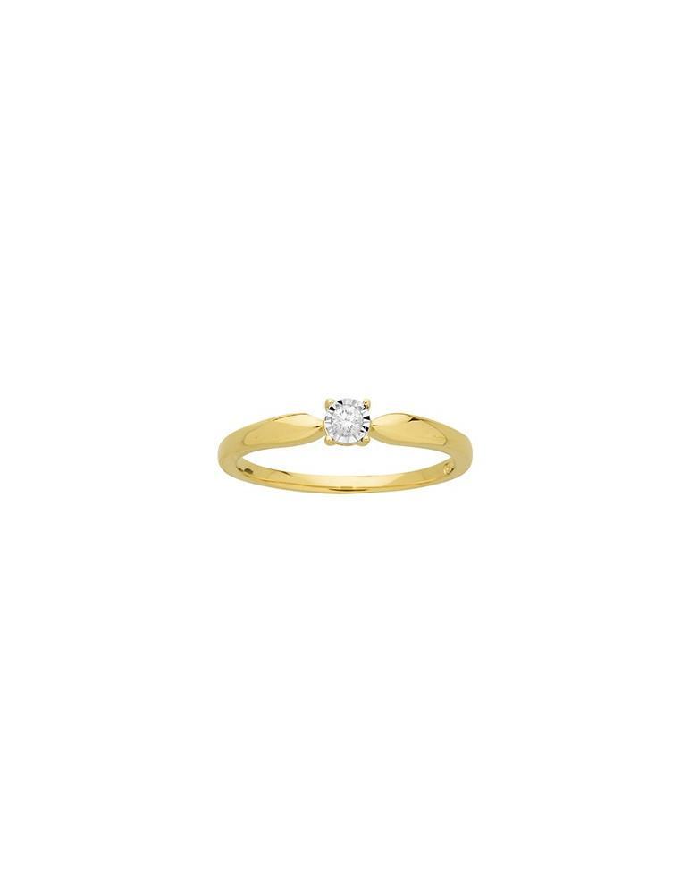 Bague solitaire or 750 jaune diamant 0.08 ct